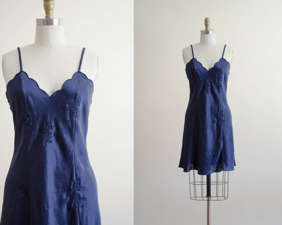 navy silky nightgown | embroidered nightgown
