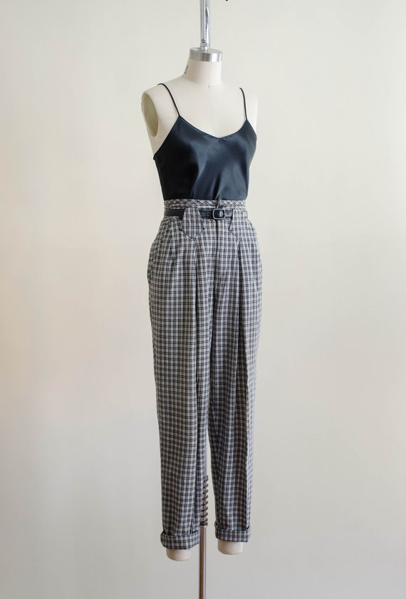 high waisted pants | 80s black and white plaid tr… - image 5