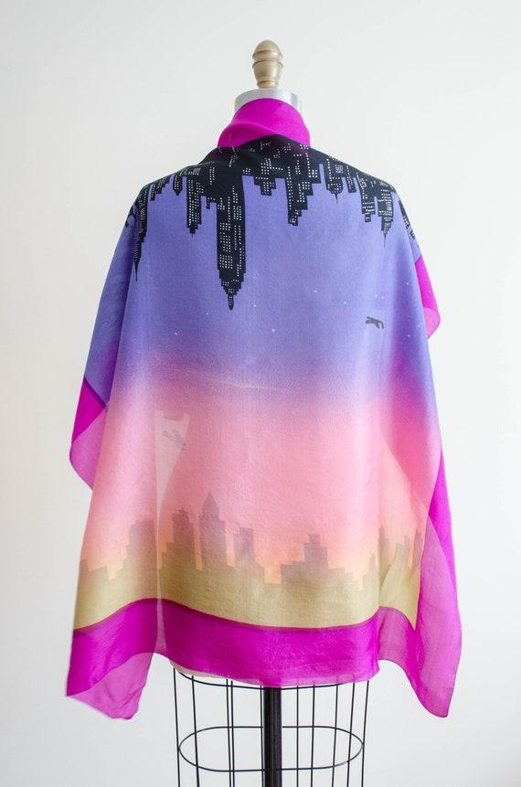 rare 1950s novelty print silk scarf   city skylin… - image 6