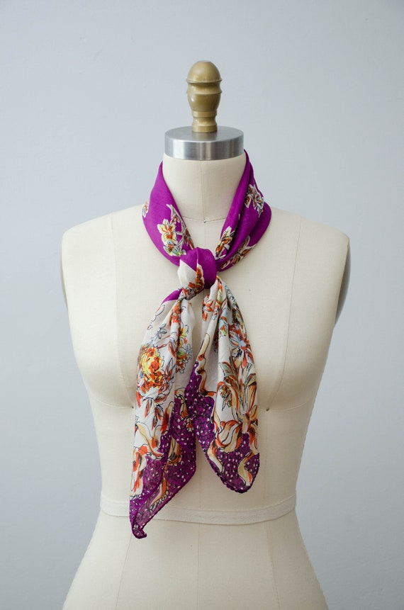 large square silk scarf | purple floral scarf | 1… - image 5