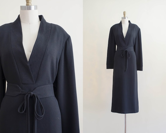 black midi dress | black belted dress