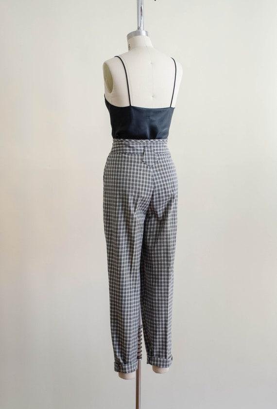 high waisted pants | 80s black and white plaid tr… - image 8