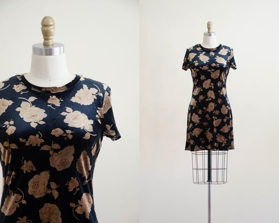 black velvet dress | floral velvet minidress