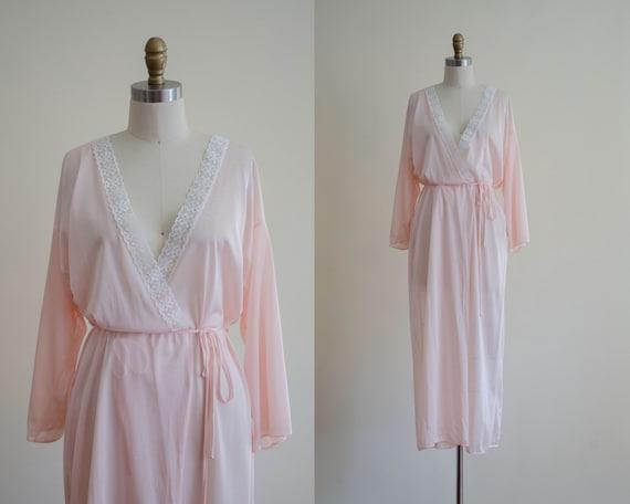 silky peach robe | full length robe | lace robe |