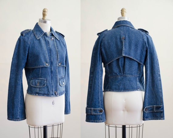 vintage jean jacket   bell sleeve jacket   cropped