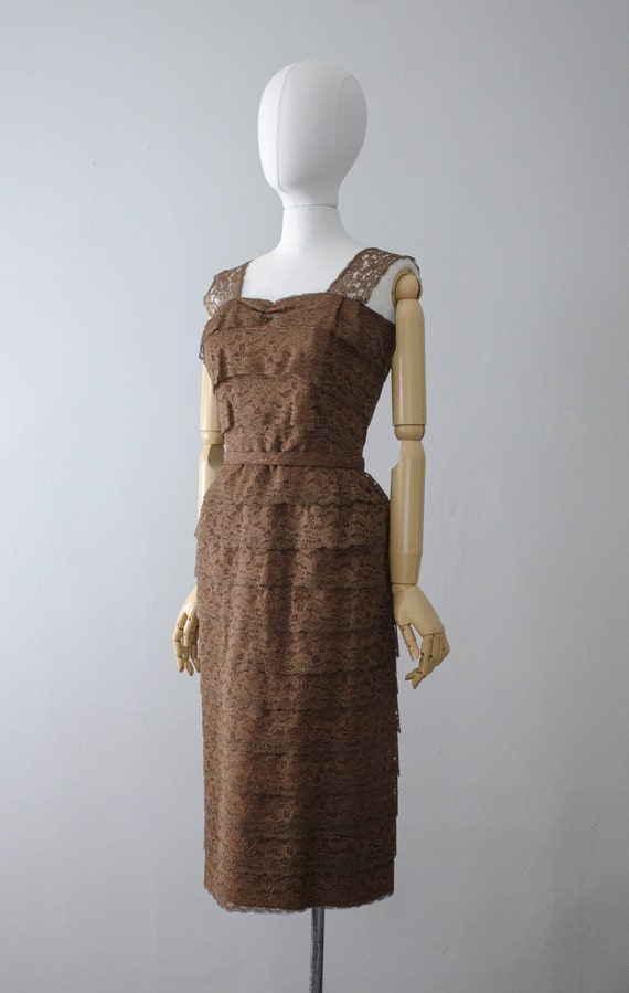 1950s dress and jacket set | brown lace wiggle dr… - image 5