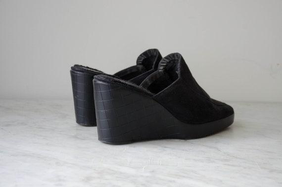 black wedge mules | 90s y2k vintage minimal black… - image 5