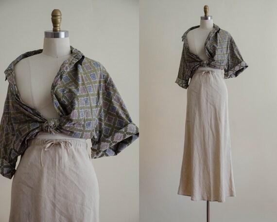 linen maxi skirt | minimal linen skirt