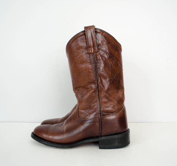 boots leather West boots vintage dark 5 size Old boots cowboy brown 5 flat UWSZUXq