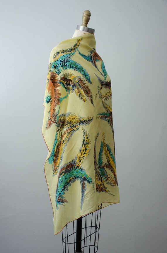 large square scarf | 1940s silk scarf | feather n… - image 3
