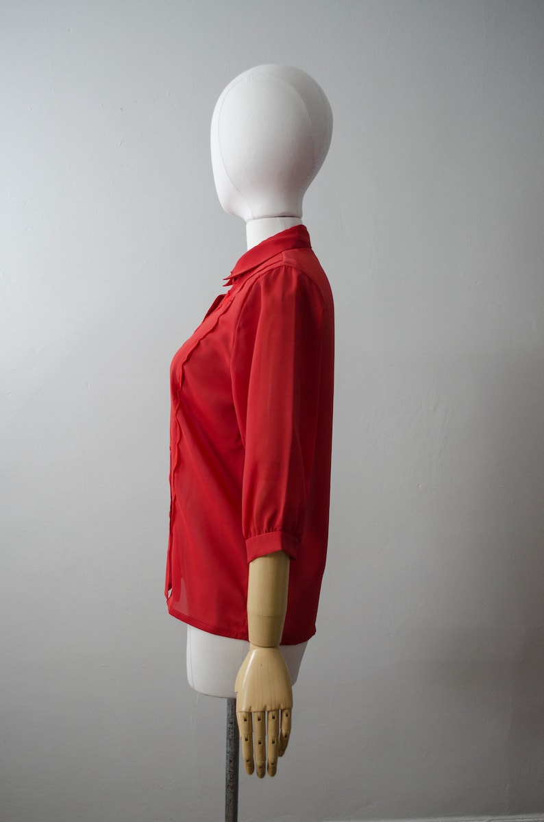 red chiffon blouse red sheer blouse embroidered blouse