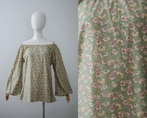 1970s peasant blouse | bishop sleeve blouse | off