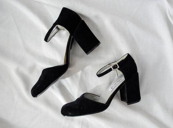 9d70f56b142 Chunky velvet heels velvet high heels vintage velvet shoes