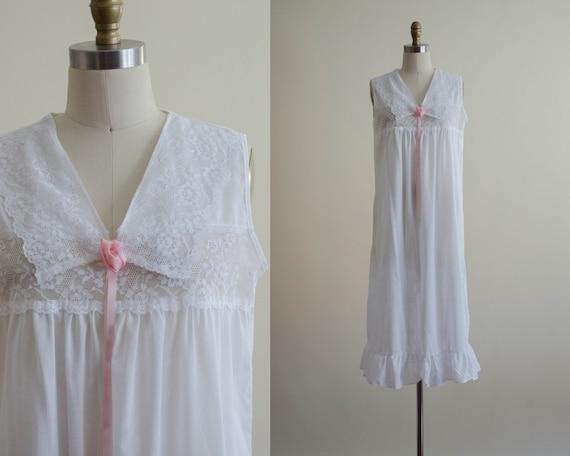 white cotton nightgown | Edwardian style nightgown