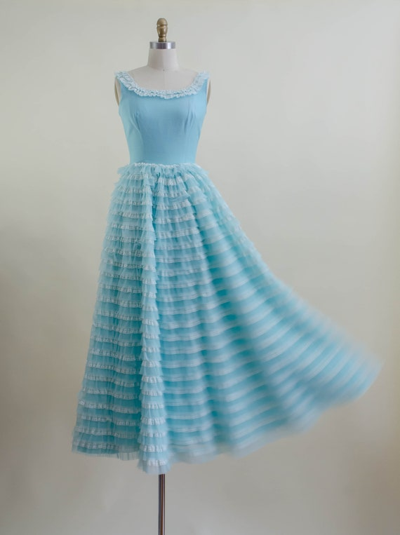50s blue tulle ball gown   aqua turquoise white l… - image 6