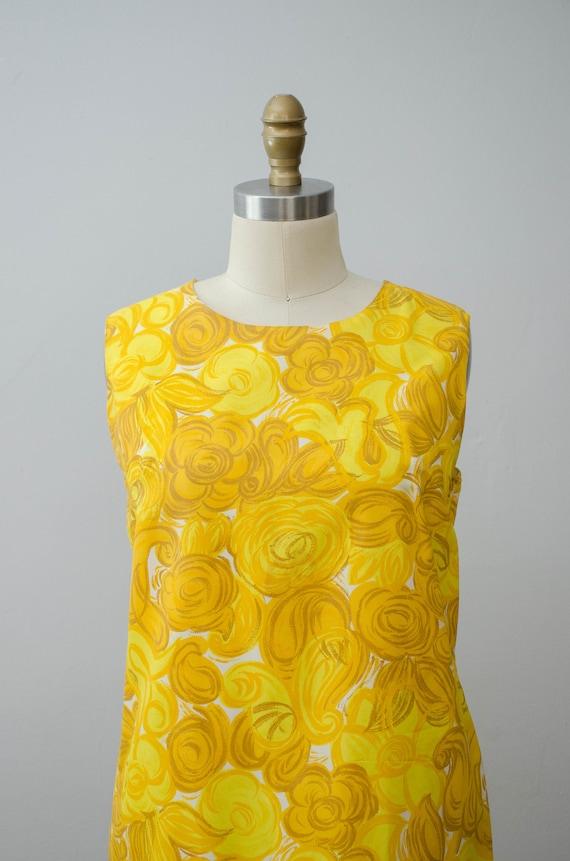 bright yellow shift dress | 1960s sleeveless dress - image 2