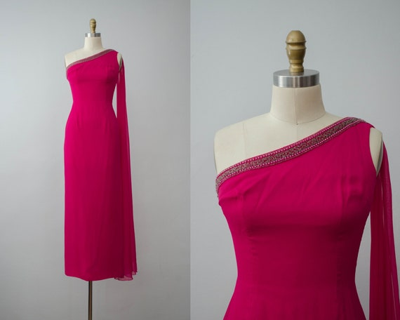 pink silk gown | hot pink gown | 1960s evening gow