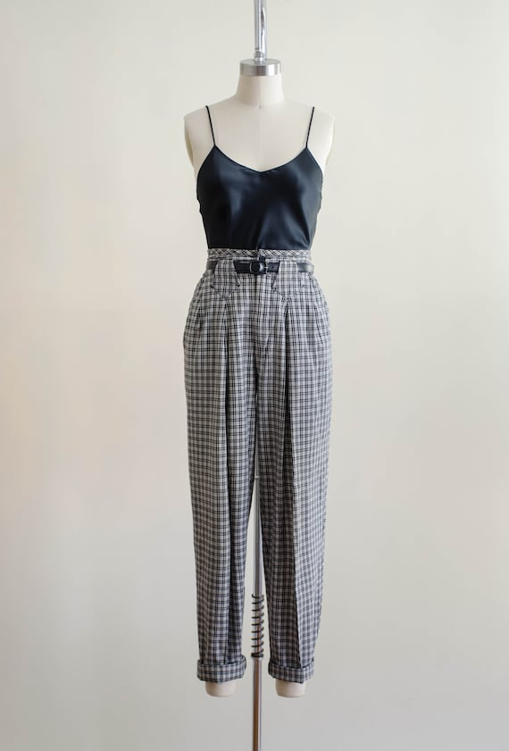 high waisted pants | 80s black and white plaid tr… - image 4