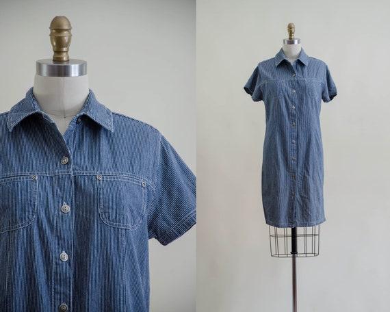 denim mini dress | 90s y2k vintage dark wash shor… - image 1