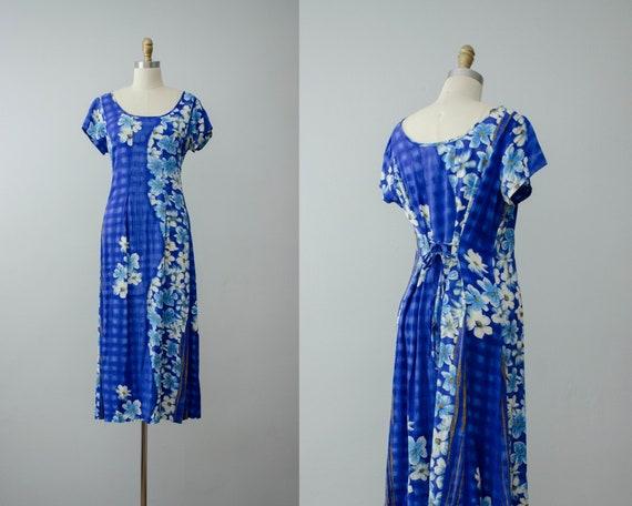 blue floral midi dress   Hawaiian dress   tie back