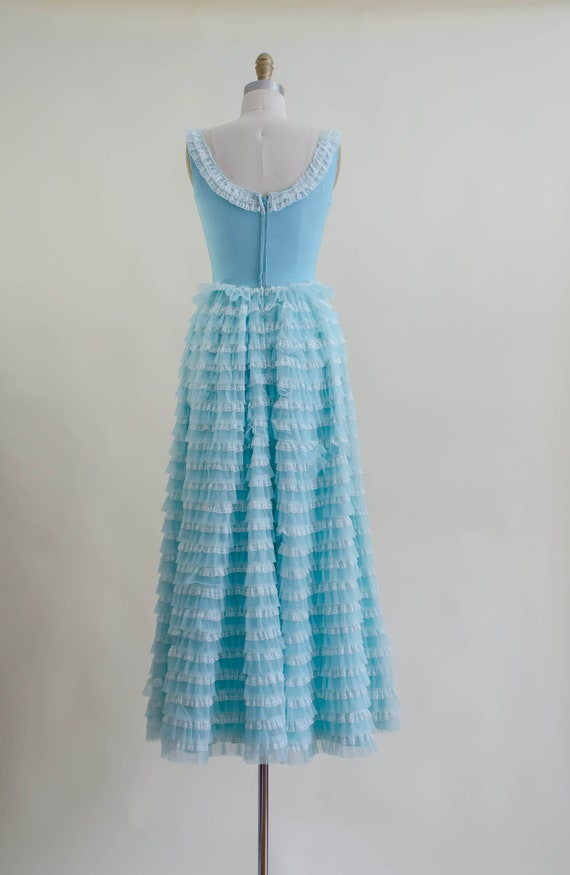 50s blue tulle ball gown   aqua turquoise white l… - image 9