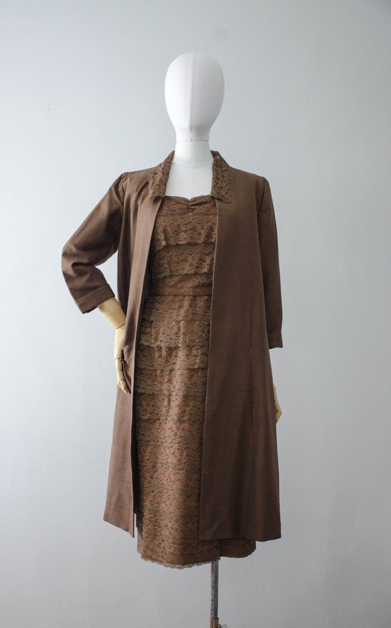 1950s dress and jacket set | brown lace wiggle dr… - image 8