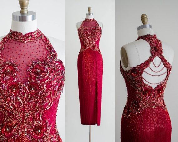 burgundy evening gown | beaded silk chiffon gown