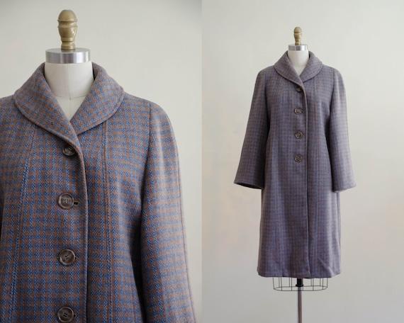 plaid wool coat   1960s coat   blue and brown wool