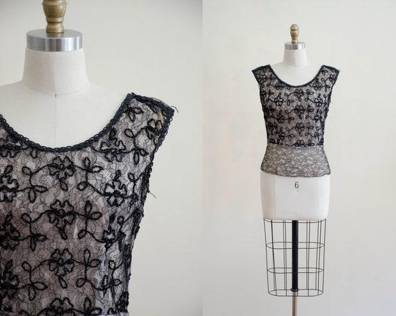 1950s black lace top | lace illusion blouse - image 1