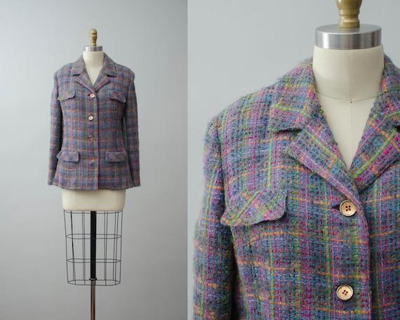 plaid wool blazer | neon plaid blazer