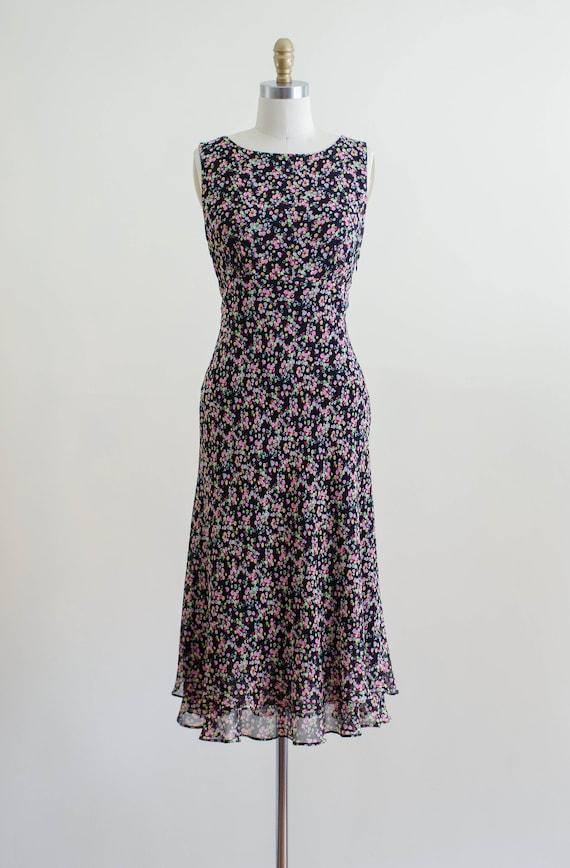 30s style silk bias dress   90s black rainbow pol… - image 2