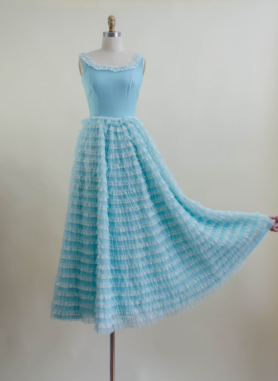 50s blue tulle ball gown   aqua turquoise white l… - image 5