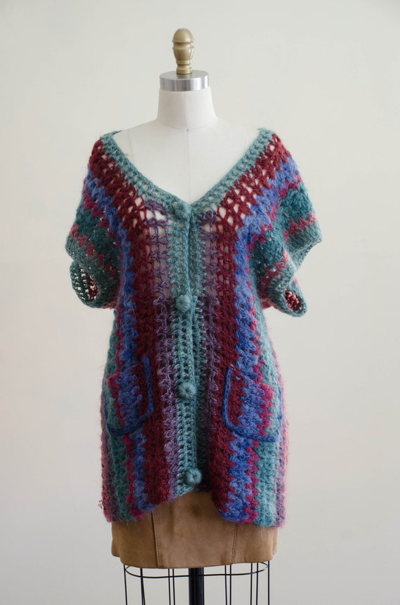 long mohair sweater | hand knit mohair vest | Ros… - image 4