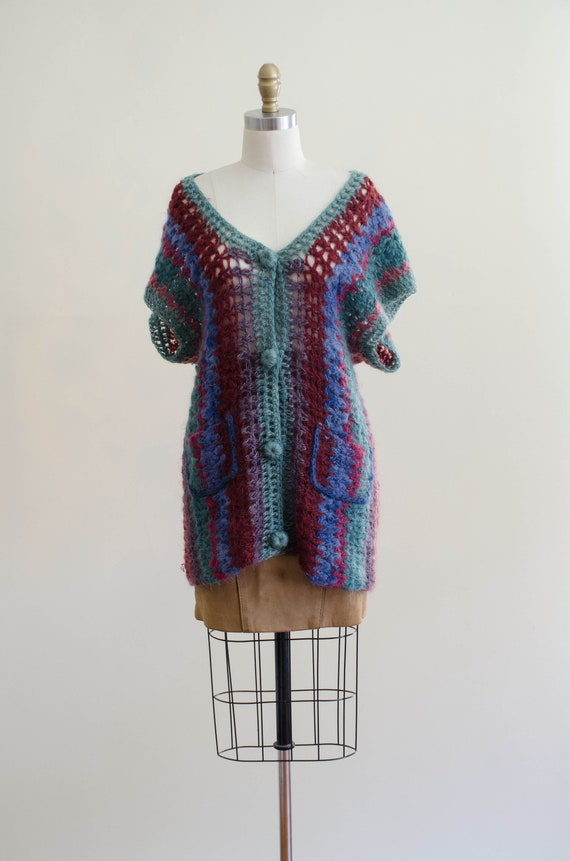 long mohair sweater | hand knit mohair vest | Ros… - image 3