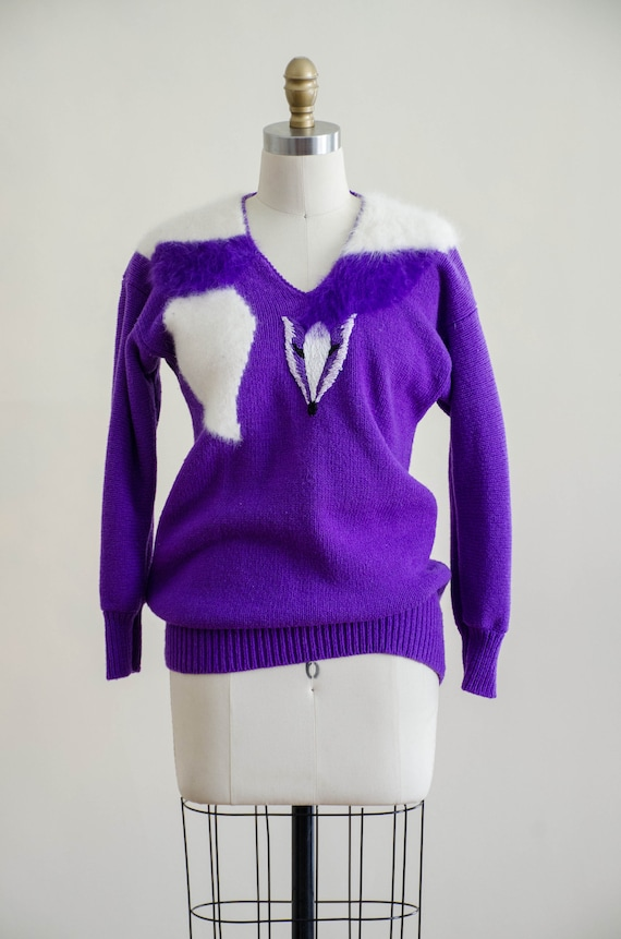 vintage purple fox sweater | fuzzy angora sweater… - image 4