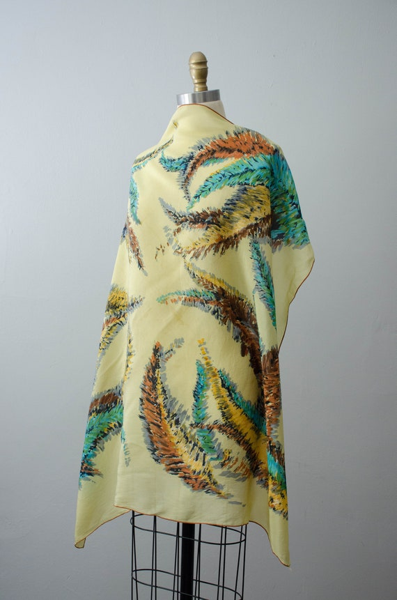 large square scarf | 1940s silk scarf | feather n… - image 2