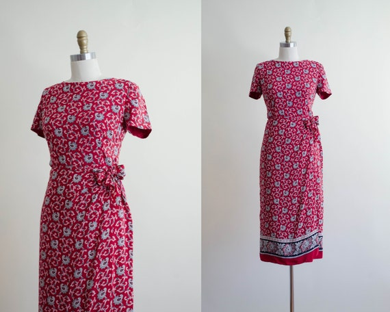 red silk dress | silk sarong dress | paisley wrap