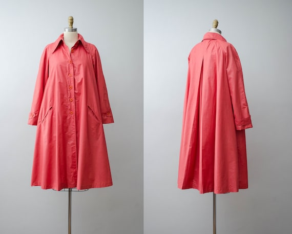 red swing coat | lustrous pale red coat