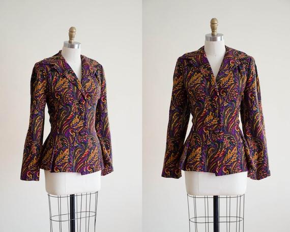paisley wool blazer | Pauline Trigere fitted blaze