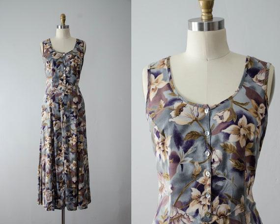 moody floral maxi dress | gray floral dress