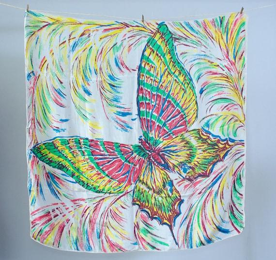 1940s vintage scarf / rainbow silk butterfly scarf