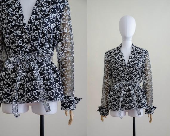 black organza blouse | sheer black blouse | embroi