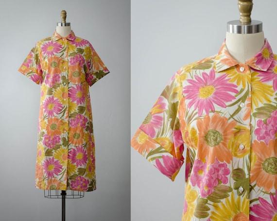 1960s dress | bold floral shirtdress