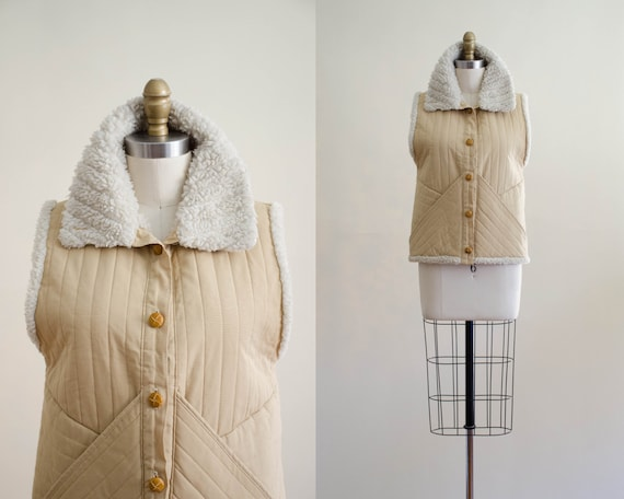1970s shearling vest | tan quilted vest