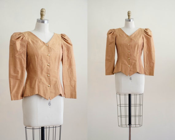 gold puff sleeve jacket | gold blouse