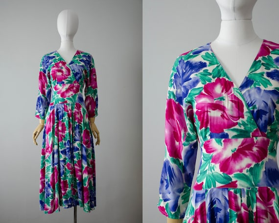 bright floral midi dress | 1980s dress | rayon mid