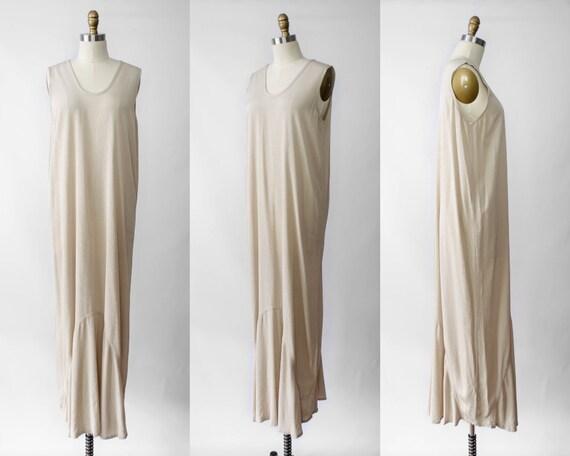 vintage flax dress | flax maxi dress | tan maxi dr