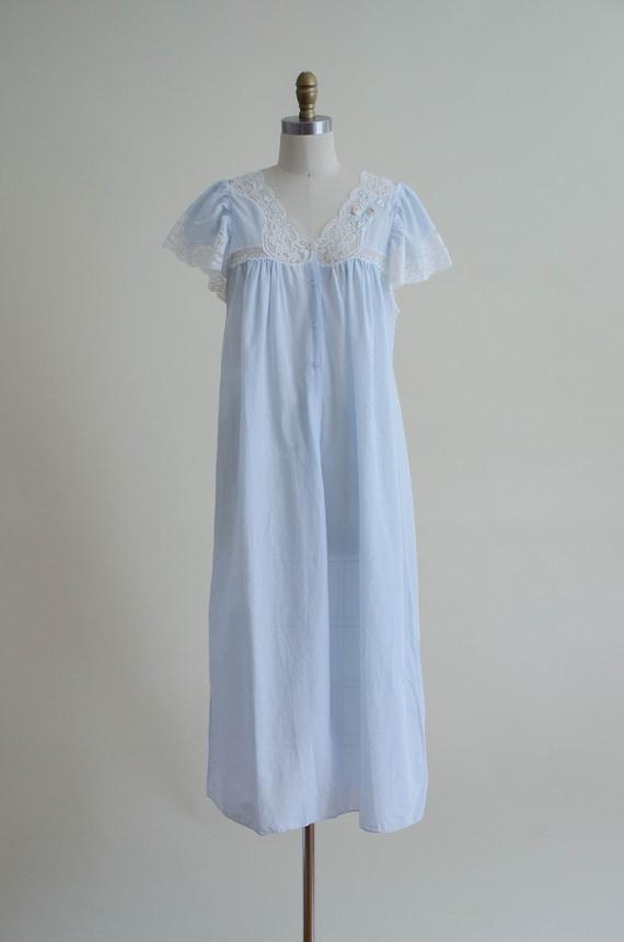 pale blue house dress | lace trim house coat - image 5