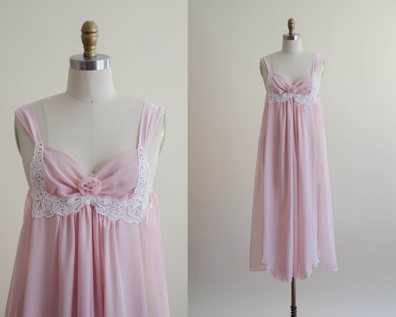dreamy pink chiffon nightgown | empire waist nigh… - image 1