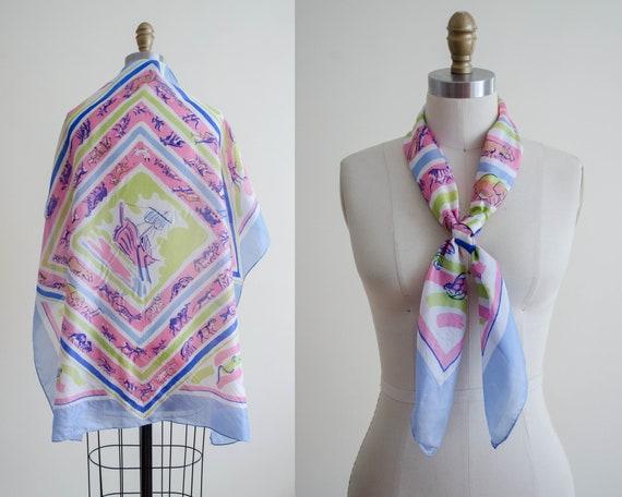 rare 1940s novelty print silk scarf | Noah's Ark s